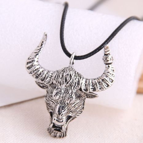 fashion retro bull head trend men's domineering retro exaggerated necklace wholesale nihaojewelry NHSC221090's discount tags