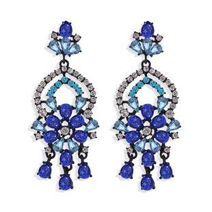 Fashion water drop flowers exaggerated earrings nihaojewelry wholesale diamond earrings NHJQ213457's discount tags