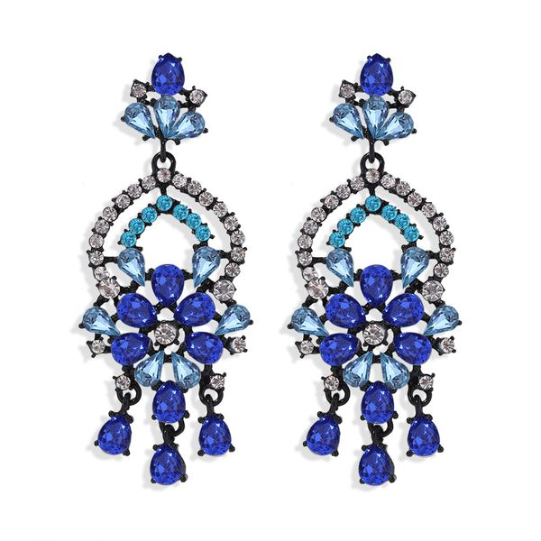 Fashion water drop flowers exaggerated earrings nihaojewelry wholesale diamond earrings NHJQ213457