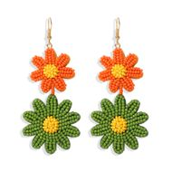Hot selling double-layer two-color small daisy earrings nihaojewelry wholesale handmade rice beads earrings fashion jewelry NHJQ213458