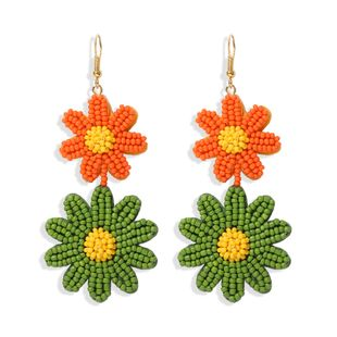 Hot selling double-layer two-color small daisy earrings nihaojewelry wholesale handmade rice beads earrings fashion jewelry NHJQ213458's discount tags