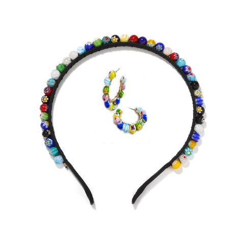Vintage glazed bead headband nihaojewelry wholesale fashion necklace earrings set headband NHJQ213462's discount tags