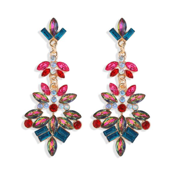 Fashion exaggerated water drop color diamond earrings nihaojewelry wholesale color diamond earrings NHJQ213465