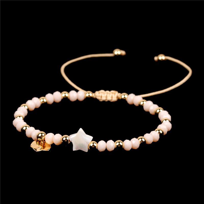 Fashion jewelry nihaojewelry china palm shell bracelet crystal beads woven bracelet wholesale NHPY213472