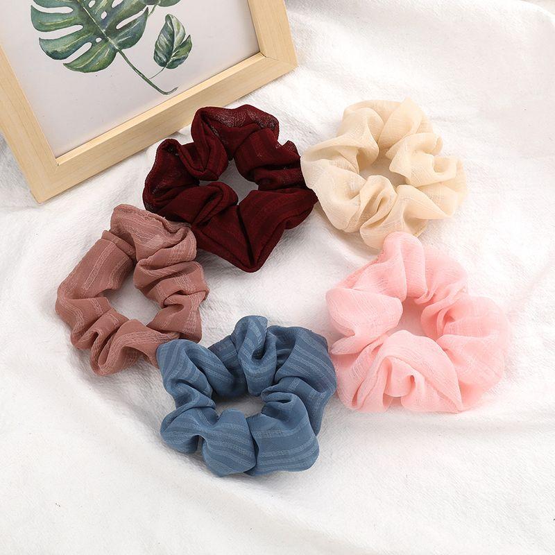 Fashionable solid color light yarn fabric hair scrunchies Korean hair ring high elastic hair rope large intestine ring wholesale NHJE213481