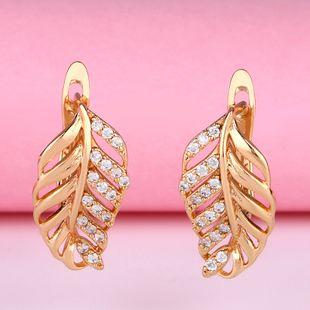 Popular earrings diamond earrings earrings genuine gold plated hypoallergenic leaf earrings nihaojewelry wholesale NHAS213484's discount tags