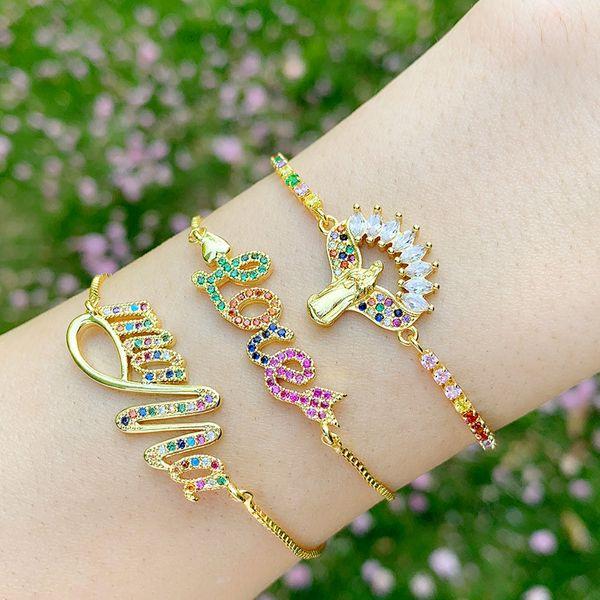 Fashion bracelet yiwu nihaojewelry love bracelet adjustable rainbow bracelet mama Madonna bracelet wholesale NHAS213488
