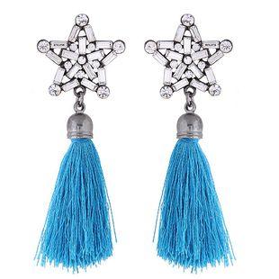 Fashion tassel geometric earrings nihaojewelry wholesale metal shining bright five-pointed star tassel temperament earrings NHSC213660's discount tags