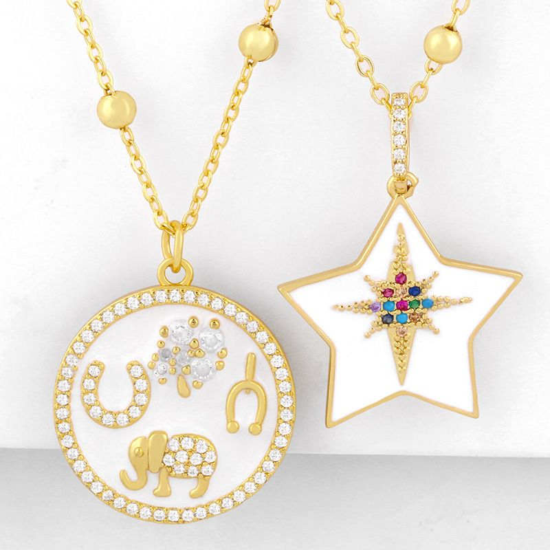 Exaggerated necklace yiwu nihaojewelry wholesale fashion round five-pointed star necklace necklace starry diamond necklace NHAS213492