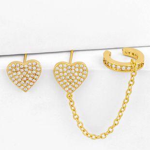 Fashion exaggerated love earrings ear clips nihaojewelry diamond temperament peach heart earrings wholesale NHAS213496's discount tags