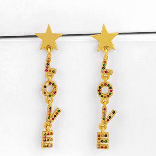 earings fashion love earrings letters nihaojewelry wholesale diamond earrings simple earrings NHAS213497's discount tags