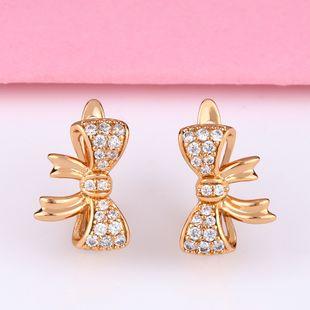 Korean retro earrings girl light luxury earrings super fairy bow zircon earrings simple earrings nihaojewelry wholesale NHAS213501's discount tags
