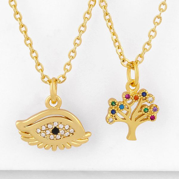 Life tree pendant necklace yiwu nihaojewelry wholesale fashion simple copper necklace accessories NHAS213504
