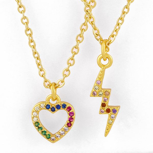 Love Heart Peach Heart Necklace Han Wei Inlaid Color Zircon Lightning Necklace New Accessories NHAS213505