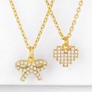 New jewelry necklace yiwu nihaojewelry bow love pendant diamond necklace jewelry wholesale NHAS213506