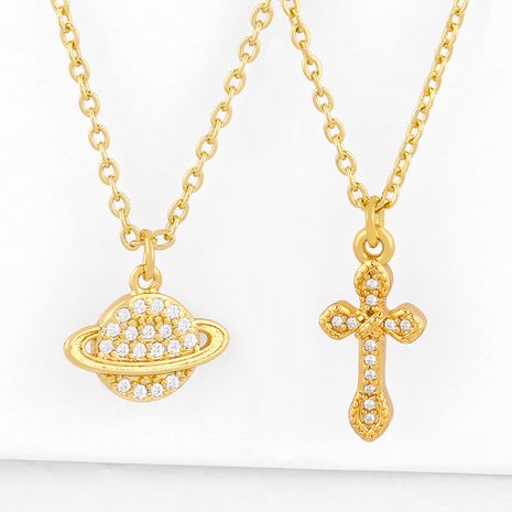 Cross necklace Korean planet diamond pendant necklace yiwu nihaojewelry new accessories wholesale NHAS213507's discount tags