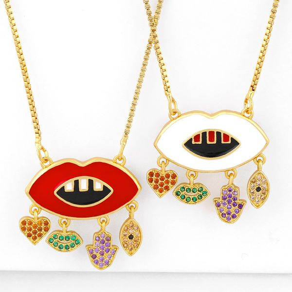 Fashion jewelry hip hop lips pendant necklace yiwu nihaojewelry wholesale necklace NHAS213508