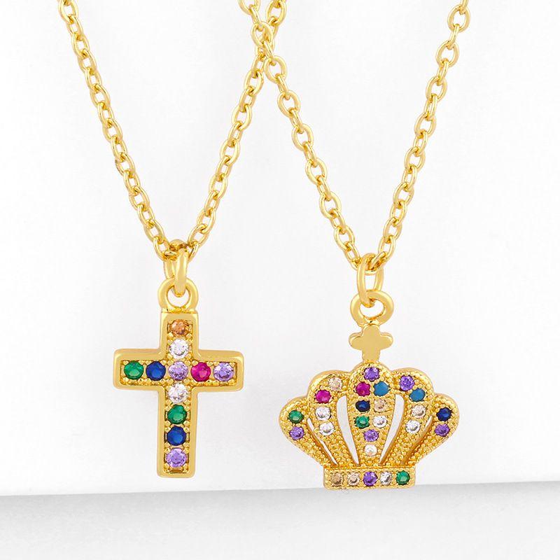 Fashion classic cross pendant necklace yiwu nihaojewelry wholesale micro-set color zircon cross crown necklace NHAS213510