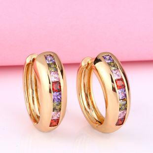 Korea retro C-shaped diamond earrings fashion earrings colored gemstone earrings nihaojewelry wholesale NHAS213511's discount tags