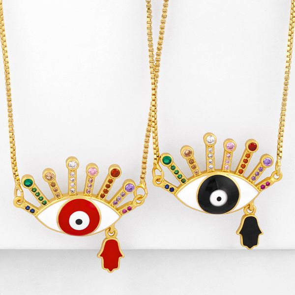 Fashion Dripping Eye Pendant Necklace yiwu nihaojewelry copper inlaid zirconium necklace wholesale NHAS213512