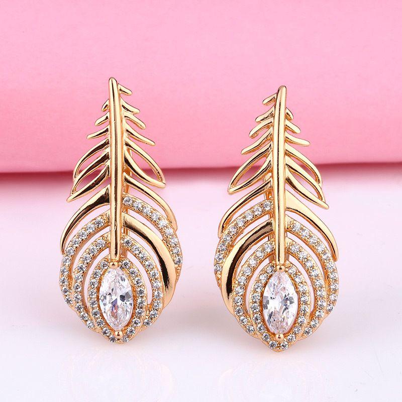 Fashion earrings accessories micro-set zircon feather earrings nihaojewelry wholesale NHAS213513