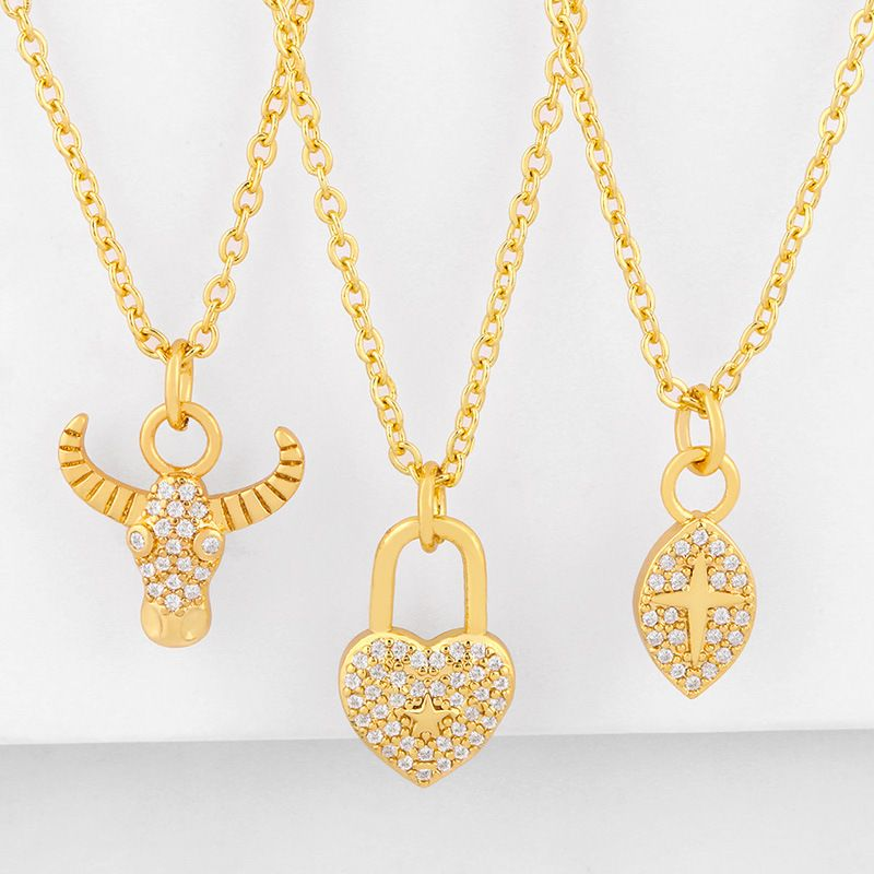 Fashion diamond-set ox head necklace yiwu nihaojewelry wholesale love pendant clavicle chain NHAS213514