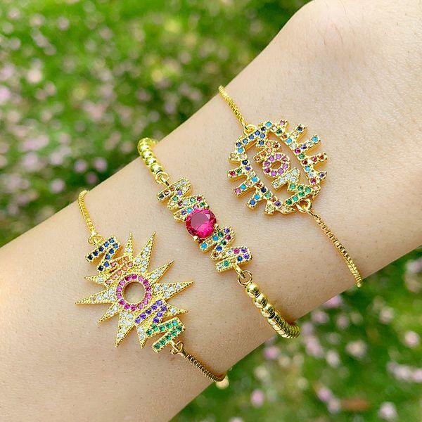 multicolor jewelry fashion alphabet mom bracelet diamond adjustable adjustable pull bracelet wholesale NHAS213515