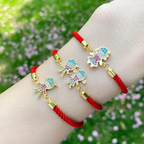 Korean bracelet yiwu nihaojewelry new accessories red rope bracelet cartoon boy girl diamond couple bracelet NHAS213519's discount tags