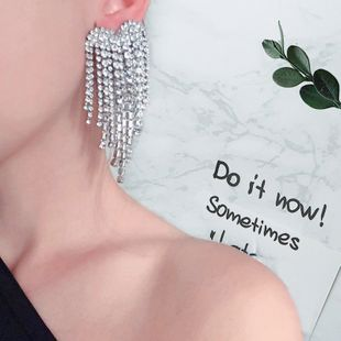 Fashion creative multi-layer alloy claw chain earrings set with rhinestones full diamonds long tassel banquet luxury earrings NHLN213525's discount tags
