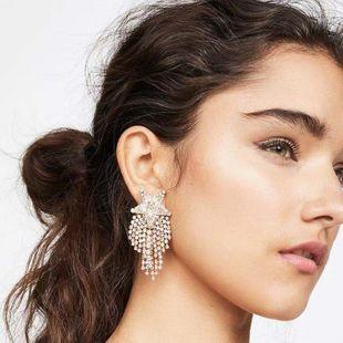 Inlaid rhinestone glass diamond pentagram tassel earrings fashion super flash full diamond temperament dinner earrings NHLN213526's discount tags