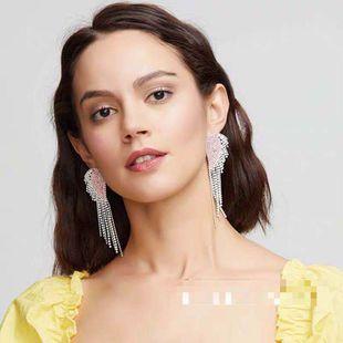 Fashion heart-shaped design alloy claw chain earrings yiwu nihaojewelry wholesale diamond long tassel earrings luxury earrings NHLN213529's discount tags