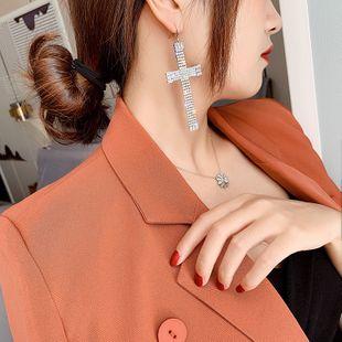 Cross alloy inlaid rhinestone zircon earrings yiwu nihaojewelry wholesale fashion long earrings NHLN213531's discount tags