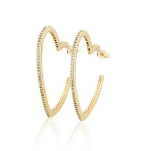 Hot copper plating inlaid zirconium heart-shaped earrings new fashion jewelry wholesale nihaojewelry NHBP213534's discount tags