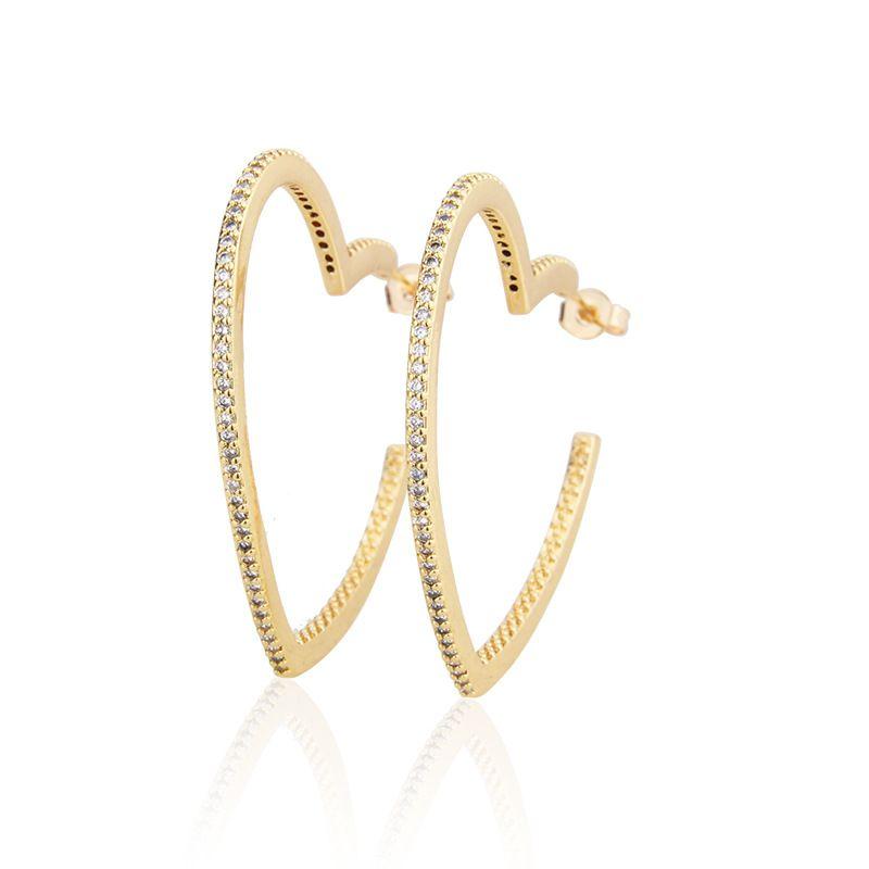 Hot copper plating inlaid zirconium heart-shaped earrings new fashion jewelry wholesale nihaojewelry NHBP213534