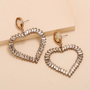 Korean fashion earrings nihaojewelry wholesale retro senior heart-shaped earrings simple exaggerated hollow diamond love earrings NHKQ213540's discount tags