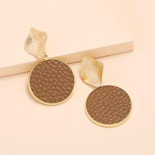 Fashion round leather earrings nihaojewelry wholesale fashion retro minimalist geometric earrings NHKQ213541's discount tags