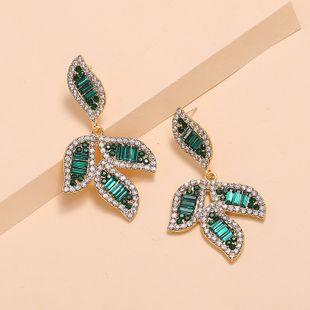 Korea green leaves earrings nihaojewelry wholesale new earrings fashion exaggerated temperament flash diamond high sense earrings NHKQ213542's discount tags