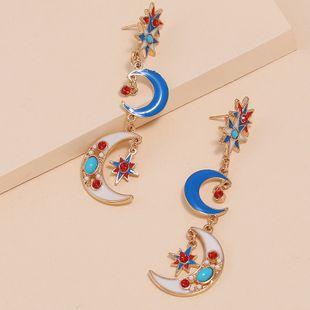 Fashionable retro fresh enamel enamel metal earrings exaggerated wild star moon long earrings NHKQ213543's discount tags