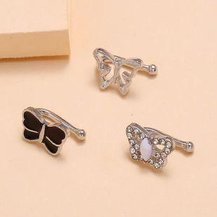 Fashion simple new ear bone clip nihaojewelry wholesale black drip hollow diamond ear clip NHKQ213544's discount tags