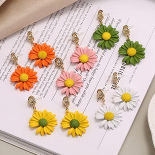 New small daisy flower earrings nihaojewelry S925 silver needle Korean simple fresh sweet long earrings NHKQ213560's discount tags