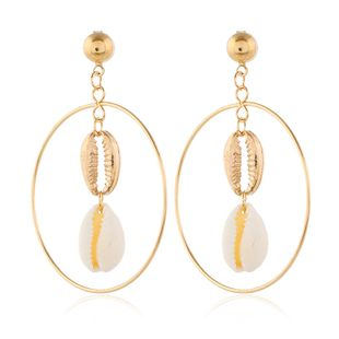 Fashion jewelry new earrings nihaojewelry wholesale fashion exaggerated metal pendant shell earrings NHKQ213562's discount tags