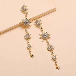 Fashion new trend long geometric earrings nihaojewelry wholesale simple retro full diamond stars exquisite earrings NHKQ213568's discount tags