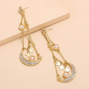 Fashion exaggerated temperament long diamond earrings nihaojewelry wholesale creative baroque stars moon pearl earrings NHKQ213571's discount tags