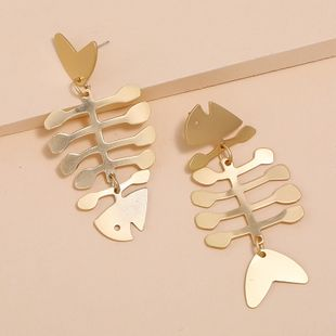 Exaggerated simple long metal hollow fish bone earrings fashion hip-hop earrings nihaojewelry wholesale NHKQ213572's discount tags