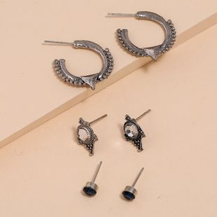 Fashion retro bohemian geometric earrings nihaojewelry wholesale simple trend micro set rhinestone earrings NHKQ213577's discount tags