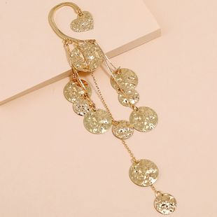 Korean fashion tassel long unilateral ear clips wholesale creative exaggerated metal disc earrings NHKQ213578's discount tags