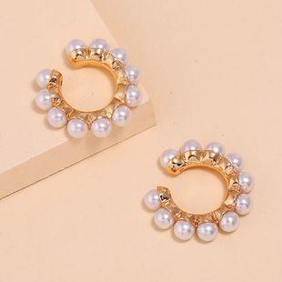 Korea ear clips nihaojewelry wholesale fashion new temperament wild ear clip simple C-shaped pearl ear clip NHKQ213582's discount tags