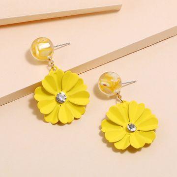 Nuevos pendientes de flores amarillas de caramelo de Corea del Sur yiwu nihaojewelry pendientes de corazón de niña dulce de moda al por mayor NHKQ213583