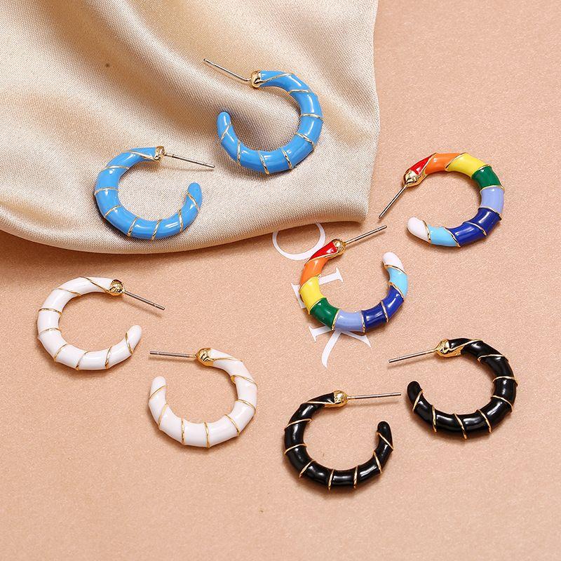 Retro ethnic popular temperament simple earrings fashion trend street shooting wild dripping enamel CX earrings NHKQ213585