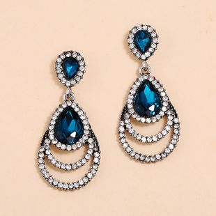Fashion new exaggerated trend earrings nihaojewelry wholesale retro hollow simple geometric drop-shaped diamond earrings NHKQ213586's discount tags